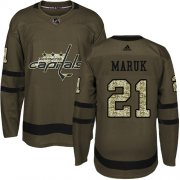Wholesale Cheap Adidas Capitals #21 Dennis Maruk Green Salute to Service Stitched NHL Jersey