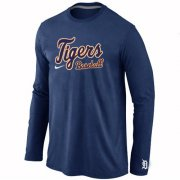 Wholesale Cheap Detroit Tigers Long Sleeve MLB T-Shirt Dark Blue