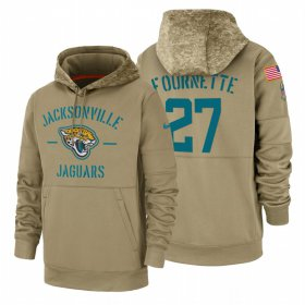 Wholesale Cheap Jacksonville Jaguars #27 Leonard Fournette Nike Tan 2019 Salute To Service Name & Number Sideline Therma Pullover Hoodie