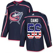 Wholesale Cheap Adidas Blue Jackets #56 Marko Dano Navy Blue Home Authentic USA Flag Stitched NHL Jersey