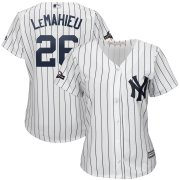 Wholesale Cheap New York Yankees #26 DJ LeMahieu Majestic Women's 2019 Postseason Official Cool Base Player Jersey White Navy