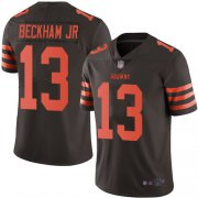 Wholesale Cheap Nike Browns #13 Odell Beckham Jr Brown Men's Stitched NFL Limited Rush Jersey