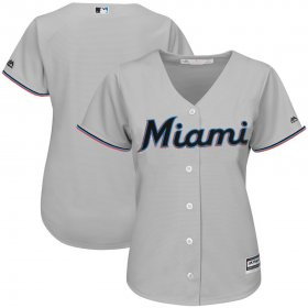 Wholesale Cheap Marlins Gray Majestic Women\'s Road Team Cool Base Stitched MLB Jersey