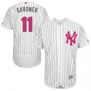 Wholesale Cheap Yankees #11 Brett Gardner White Strip Flexbase Authentic Collection Mother's Day Stitched MLB Jersey