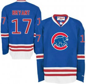 Wholesale Cheap Cubs #17 Kris Bryant Blue Long Sleeve Stitched MLB Jersey