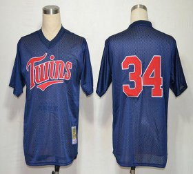 Wholesale Cheap Mitchell And Ness 1991 Twins #34 Kirby Puckett Navy Blue Stitched MLB Jersey