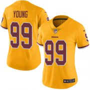 Wholesale Cheap Nike Redskins #99 Chase Young Gold Women's Stitched NFL Limited Rush Jersey