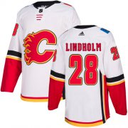 Wholesale Cheap Adidas Flames #28 Elias Lindholm White Road Authentic Stitched NHL Jersey