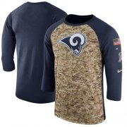 Wholesale Cheap Men's Los Angeles Rams Nike Camo Navy Salute to Service Sideline Legend Performance Three-Quarter Sleeve T-Shirt