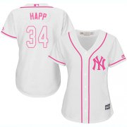 Wholesale Cheap Yankees #34 J.A. Happ White/Pink Fashion Women's Stitched MLB Jersey