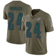 Wholesale Cheap Nike Eagles #24 Jordan Howard Olive Men's Stitched NFL Limited 2017 Salute To Service Jersey