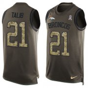 Wholesale Cheap Nike Broncos #21 Aqib Talib Green Men's Stitched NFL Limited Salute To Service Tank Top Jersey