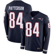 Wholesale Cheap Nike Patriots #84 Cordarrelle Patterson Navy Blue Team Color Men's Stitched NFL Limited Therma Long Sleeve Jersey