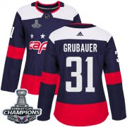 Wholesale Cheap Adidas Capitals #31 Philipp Grubauer Navy Authentic 2018 Stadium Series Stanley Cup Final Champions Women's Stitched NHL Jersey