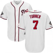 Wholesale Cheap Nationals #7 Trea Turner White Cool Base 2019 World Series Champions Stitched Youth MLB Jersey