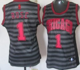 Wholesale Cheap Chicago Bulls #1 Derrick Rose Gray With Black Pinstripe Womens Jersey