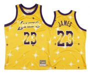 Wholesale Cheap Men's Los Angeles Lakers #23 LeBron James Starry Yellow Hardwood Classics Soul Swingman Throwback Jersey