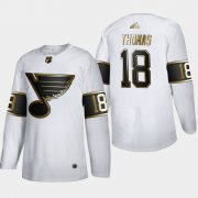 Wholesale Cheap St. Louis Blues #18 Robert Thomas Men's Adidas White Golden Edition Limited Stitched NHL Jersey