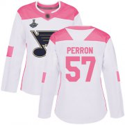 Wholesale Cheap Adidas Blues #57 David Perron White/Pink Authentic Fashion Stanley Cup Champions Women's Stitched NHL Jersey