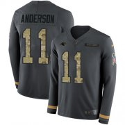 Wholesale Cheap Nike Panthers #11 Robby Anderson Anthracite Salute to Service Men's Stitched NFL Limited Therma Long Sleeve Jersey