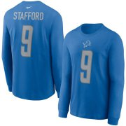 Wholesale Cheap Detroit Lions #9 Matthew Stafford Nike Player Name & Number Long Sleeve T-Shirt Blue