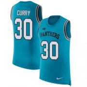 Wholesale Cheap Nike Panthers #30 Stephen Curry Blue Alternate Men's Stitched NFL Limited Rush Tank Top Jersey