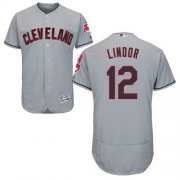 Wholesale Cheap Indians #12 Francisco Lindor Grey Flexbase Authentic Collection Stitched MLB Jersey