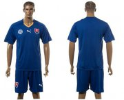 Wholesale Cheap Slovakia Blank Blue Away Soccer Country Jersey