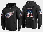 Wholesale Cheap Red Wings #71 Dylan Larkin NHL Banner Wave Usa Flag Black Hoodie