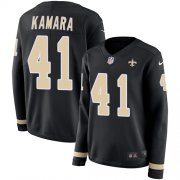 Wholesale Cheap Nike Saints #41 Alvin Kamara Black Team Color Women's Stitched NFL Limited Therma Long Sleeve Jersey