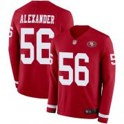 Wholesale Cheap Nike 49ers #56 Kwon Alexander Red Team Color Men's Stitched NFL Limited Therma Long Sleeve Jersey
