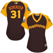 Wholesale Cheap Nationals #31 Max Scherzer Brown 2016 All-Star National League Women's Stitched MLB Jersey
