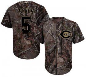 Wholesale Cheap Reds #5 Johnny Bench Camo Realtree Collection Cool Base Stitched Youth MLB Jersey