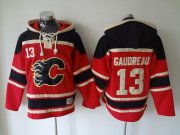 Wholesale Flames #13 Johnny Gaudreau Red Sawyer Hooded Sweatshirt Stitched NHL Jersey