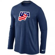 Wholesale Cheap Nike USA Graphic Legend Performance Collection Locker Room Long Sleeve T-Shirt Dark Blue