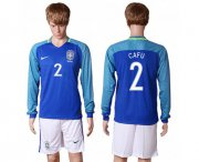 Wholesale Cheap Brazil #2 Cafu Away Long Sleeves Soccer Country Jersey