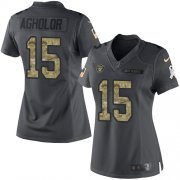 Wholesale Cheap Nike Raiders #15 Nelson Agholor Black Women's Stitched NFL Limited 2016 Salute to Service Jersey