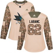 Wholesale Cheap Adidas Sharks #62 Kevin Labanc Camo Authentic 2017 Veterans Day Women's Stitched NHL Jersey