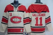 Wholesale Cheap Canadiens #11 Brendan Gallagher Cream Sawyer Hooded Sweatshirt Stitched NHL Jersey