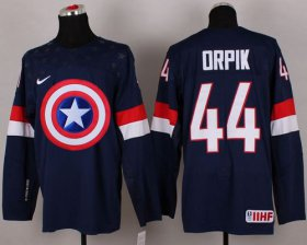 Wholesale Cheap Olympic Team USA #44 Brooks Orpik Navy Blue Captain America Fashion Stitched NHL Jersey