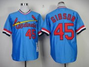 Wholesale Cheap Mitchell And Ness Cardinals #45 Bob Gibson Blue Throwback Stitched MLB Jersey