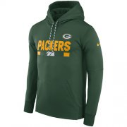 Wholesale Cheap Men's Green Bay Packers Nike Green Sideline ThermaFit Performance PO Hoodie