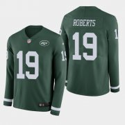 Wholesale Cheap Nike Jets #19 Andre Roberts Green Team Color Men's Stitched NFL Limited Therma Long Sleeve Jersey