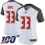 Wholesale Cheap Nike Buccaneers #33 Carlton Davis III White Women's Stitched NFL 100th Season Vapor Limited Jersey