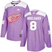Wholesale Cheap Adidas Red Wings #8 Justin Abdelkader Purple Authentic Fights Cancer Stitched NHL Jersey