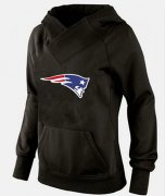 Wholesale Cheap Women's New England Patriots Logo Pullover Hoodie Black