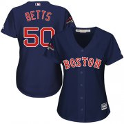 Wholesale Cheap Red Sox #50 Mookie Betts Navy Blue Alternate 2018 World Series Champions Women's Stitched MLB Jersey