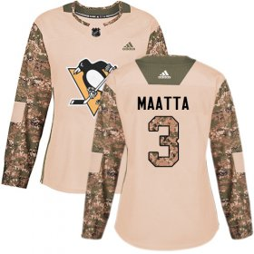 Wholesale Cheap Adidas Penguins #3 Olli Maatta Camo Authentic 2017 Veterans Day Women\'s Stitched NHL Jersey