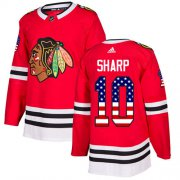 Wholesale Cheap Adidas Blackhawks #10 Patrick Sharp Red Home Authentic USA Flag Stitched Youth NHL Jersey
