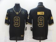 Wholesale Cheap Men's New Orleans Saints #9 Drew Brees Black Gold 2020 Salute To Service Stitched NFL Nike Limited Jersey